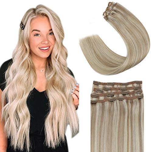 YoungSee 20inch Hair Extensions Clip in Human Hair Highlight Ash Blonde with Bleach Blonde Straight Human Hair Extensions Highlights Clip in Remy Hair Extensions 100G 7Pcs