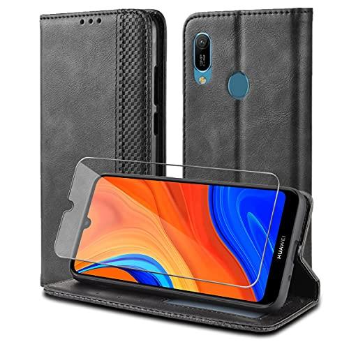 Reshias Hülle kompatibel mit Huawei Y6s,schwarz PU Leder Flip Brieftasche Handy hülle Schutzhülle mit EIN Gehärtetes Glas Schutzfolie für Huawei Y6s 2020 / Y6 2019 (6,09 Zoll)