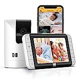 Vigilabebés con cámara KODAK Cherish C525P Smart, vídeo, configuración y Uso Sencillos y una batería de Larga duración