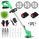 Battery Grass Trimmer with 3Pcs 6inch Saw Blade Cordless Electric String Trimmer Powered Edger Lawn Mower 24V Pruning Garden Tools Weed Brush Cutter Kit for Garden Clearing Weeds Flower Trees