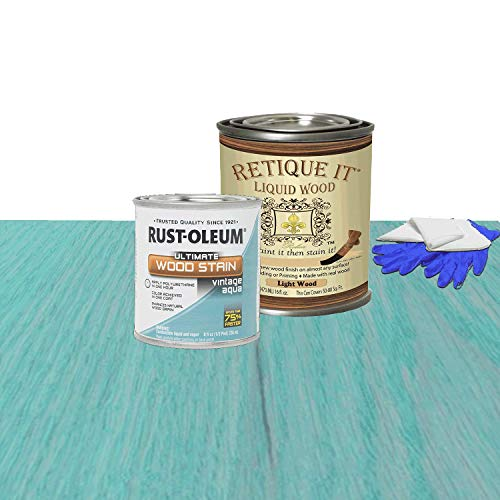 Retique It Liquid Wood - Pint Light Wood with Vintage Aqua Stain - Stainable Wood Fiber Paint - Put a fresh coat of wood on it (16oz LW, Vintage Aqua)