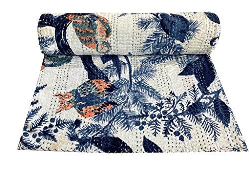 Indian-Shoppers Kantha Owl Bird Print Ralli Manta hecha a mano de algodón indio, Gudri bohemio, tamaño Queen Kantha, colcha india