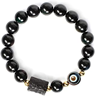 L&C Feng Shui Black Obsidian Wealth Bracelet - 8MM 10MM Women Mens Bracelets Natural Black Obsidian Crystal Evil Eye Agate...