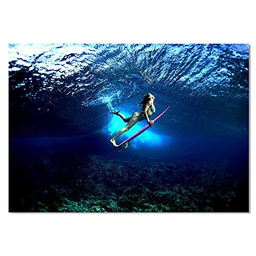 1 Piezas Lienzo Arte Pared,1 Piezas Lienzo Chica Surfeando En El Océano Azul Profundo,1 Piezas Cuadro Lienzo,Cuadros Decoracion Salon 1 Piezas Cuadro Moderno Xxl,1 Piezas Cuadro Sobre Lienzo 50X70Cm