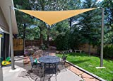SUNLAX 16'5'' x 16'5'' x 16'5'' Triangle Sun Shade Sail Sand Color UV Resistant for Outdoor Patio Lawn Garden Activities