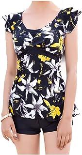 ワンピース水着女性スリムスカートスタイル、上質なナイロンプリント (サイズ さいず : M)