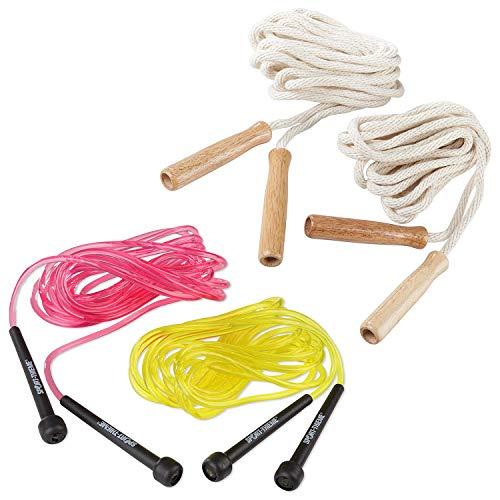 Sport-Thieme Double-Dutch Seile | Springseil-Set für Seilspringen, Gruppenseilspringen, Rope-Skipping | 4,8 m lang | Baumwolle mit Holzgriffen o. Kunststoff mit Kunststoffgriffen