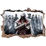 Cartoon Anime Poster Broken Wall Efecto 3D Pegatinas De Pared para Habitación De Niños Vinilos Decorativos Assassin'S Creed Posters Kids Gift Mural 80x120CM-C_80*120CM