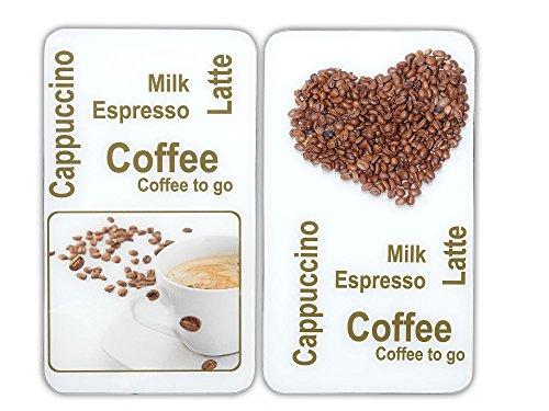 Wenko 2521435500 Herdabdeckplatte Universal Kaffeegenuss - 2er Set, für alle Herdarten, Gehärtetes Glas, 30 x 1.8-4.5 x 52 cm, Mehrfarbig