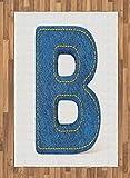 ABAKUHAUS Letra B Alfombra de Área, Los Pantalones Vaqueros De Moda Retro, Ideal para Sala de Estar o Comedor Resistente a Manchas, 120 x 180 cm, Azul Amarillo