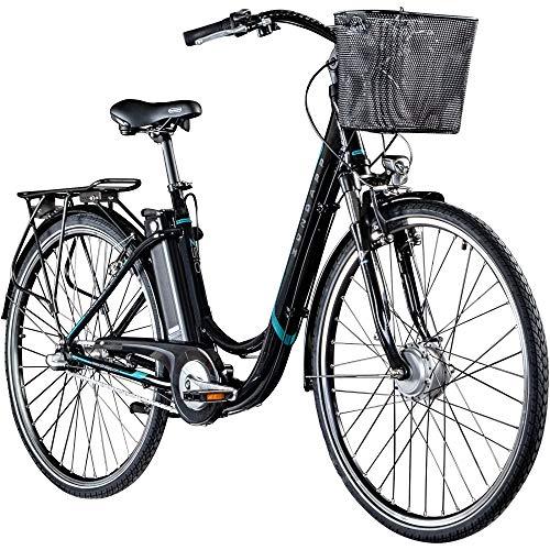Zündapp E Damenrad 700c E-Bike Pedelec Z510 Citybike Elektrofahrrad 28' Fahrrad (schwarz/türkis, 48 cm)
