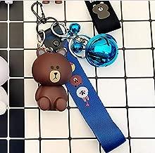 Thedmhom 1 Pcs New Cute Kawaii Cartoon Love Sitting Brown Bear Keychain Novelty Toy Gift Fashion Ornaments Coin Purse Korean Line Friends Face Wrist Strap Blue Bell Keyring Bag Buckle Phone Pendant
