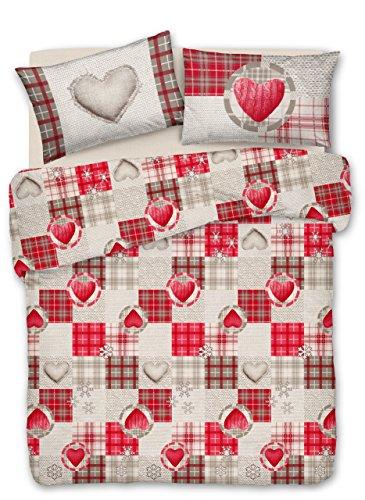 Smartsupershop Couette avec taies d'oreiller lit mis. 250 x 200 – Coeurs d 'Automne Rouge – en Coton Fabriqué en Italie