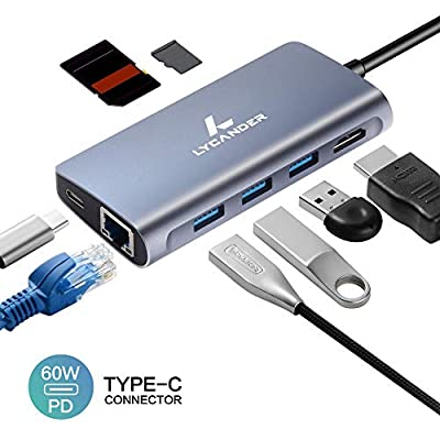 LYCANDER USB C Hub, 8 In 1 Type C Hub with Ethernet, 4K HDMI, 3x USB 3.0 Type A Ports, SD & MicroSD Card Reader, USB C Power Delivery, Portable Hub for MacBook Pro and Other Type-C Devices