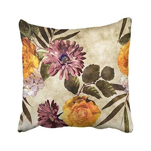 Funda de almohada decorativa para el hogar, 18 x 18 cm, diseño de flores con flores doradas, naranja, blanco y rosa morada, flores de ásteres y gerbera, fundas de cojín cuadradas decorativas para sofá, accesorios para el hogar