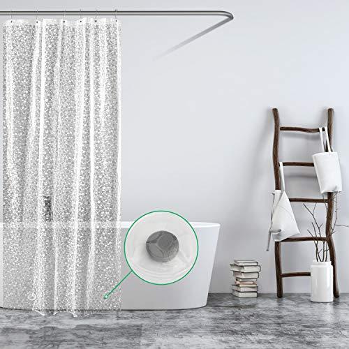 Carttiya Duschvorhang Transparent 100x183 Shower Curtains Duschvorhänge Anti-Schimmel Badevorhang - Wasserdichter Badezimmervorhang mit 12 Edelstahlhaken und Beschwertem Saum