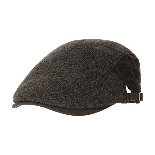WITHMOONS Sombreros Gorras Boinas Bombines Wool Twisted Cable Knitted Newsboy Hat Flat Cap AC3121 (Maroon)