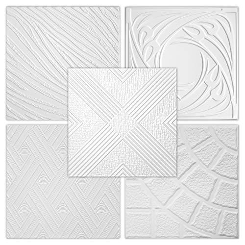Hexim Styropor Deckenplatten - große Auswahl 50x50cm XPS Wand- und Deckenverkleidung 1 qm Platten Dekor formfest NR.112