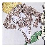 MADONG 3 Conjuntos Leopardo Bikini Traje de baño de la Correa del Color sólido de la Cremallera de Malla Desgaste de la Playa del Traje de baño (Color : Brown Three-Piece Set, Size : L)