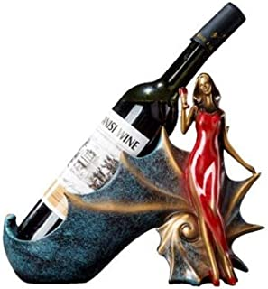 HWZBH Creative living room wine cabinet goddess wine rack decoration ornaments crafts gifts office furnishings (Color : Re...