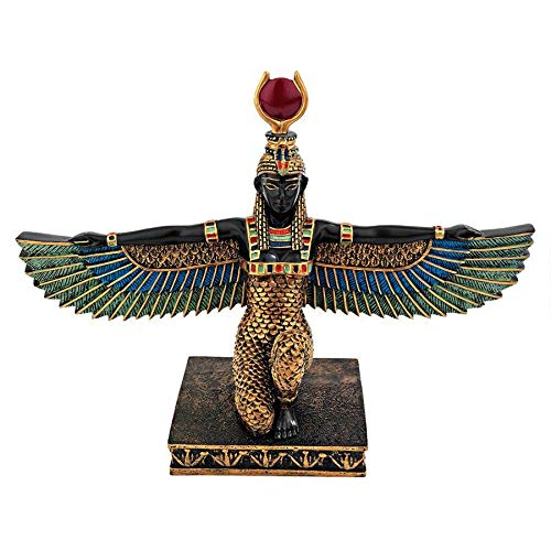 Design Toscano Isis Goddess of Beauty Egyptian Decor Statue, 9 Inch, Polyresin, Full Color
