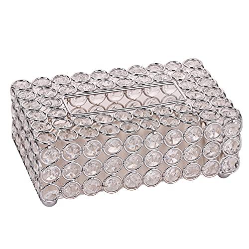 RichAmazon European light luxury crystal paper towel box paper cartridge napkin carton box living room storage box pattern room ornaments