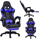 PC Gaming Chair Office Chair High Back Computer Chair PU Leather Desk Chair PC Racing Executive Ergonomic Adjustable Swivel Task Chair with Headrest and Lumbar Support with Footrest Adjustable (Blue)