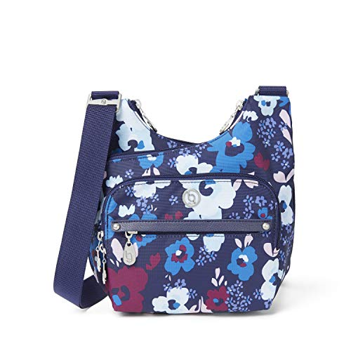 BG by Baggallini Charlotte Crossbody Bag - Stylish, Lightweight, Adjustable-Strap Purse With Multiple Pockets and RFID Protection, Navy Floral Bloom