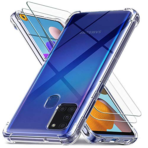 Ferilinso Fundas para Samsung Galaxy A21S con 2 Piezas Protector de Pantalla, Funda Transparente para Samsung Galaxy A21S, Película de Cristal Templado, para Samsung Galaxy A21S