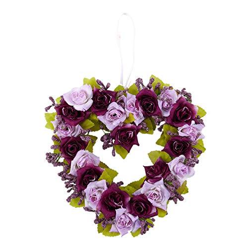 Cuasting, ghirlanda di fiori artificiali a forma di cuore, decorazione per porta, con nastro di seta, 22 x 21 x 3,5 cm
