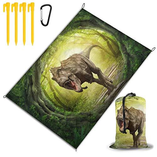 Qichuang papel pintado personalizable - 3D-Dinosaur-World-Landscape-Forest papel pintado extra grande al aire libre manta de picnic manta de playa manta de picnic 78 pulgadas x 57 pulgadas impermeable respaldo anti arena viaje senderismo camping