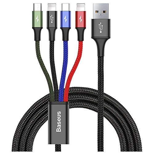 Baseus - Cavo di ricarica 4 in 1, 2 x Lightning, USB-C e Micro USB (120 cm, adatto per iPhone 11, iPhone XS/XS Max/XR, iPhone 6/6s/7/8, Android), colore: Nero
