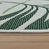 Paco Home In- & Outdoor Teppich Flachgewebe Jungel Gecarvtes Florales Palmen Design Grün, Grösse:120x170 cm - 3