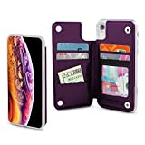 Gear Beast Lychee PU Leather Protective Top View Slim Wallet Case Fits iPhone XR Includes Flip Folio Cover, with Five Card Slots Including Transparent ID Holder