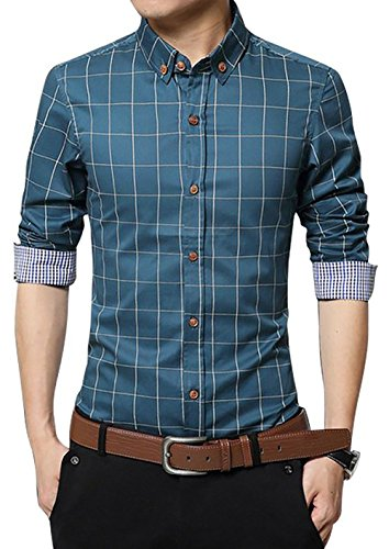 LOCALMODE Men's 100% Cotton Long Sleeve Plaid Slim Fit Button Down Dress Shirt,Acid Blue,X-Large