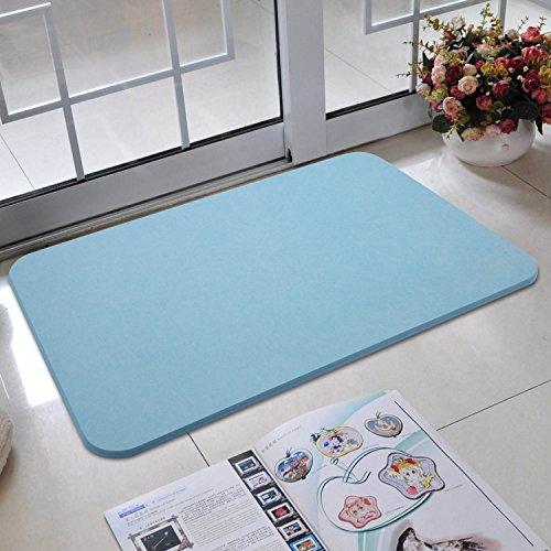 BATHWA Diatomit Badematte, Badteppich, rutschfest, schnell trocknend und antibakteriell aus Kieselgur ALS Duschvorlage/Badezimmermatte (Blau)