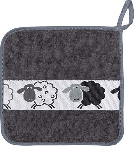 Kracht Topflappen Schafe, schwarz, Frottier 1 er, 100 % Baumwolle