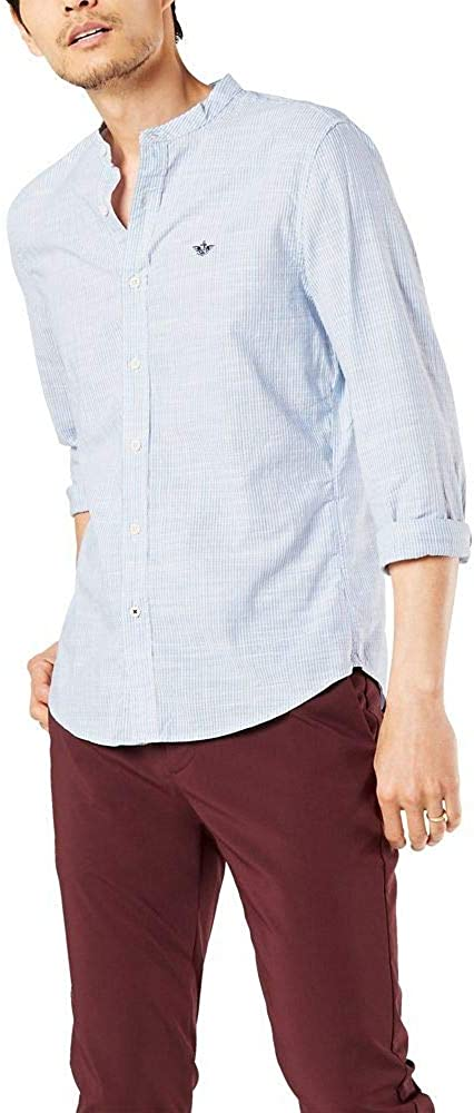 Dockers Men's Long Sleeve Band Collar Shirt