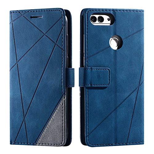 Hülle für Huawei Honor 9 Lite, SONWO Premium Leder PU Handyhülle Flip Hülle Wallet Silikon Bumper Schutzhülle Klapphülle für Huawei Honor 9 Lite, Blau