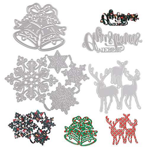 7 piezas de troquelado en relieve de Navidad, troqueles para hacer tarjetas,plantillas de metal navideñas para...
