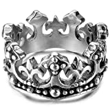 INBLUE Royal King Crown Rings for Men Women Boys Girls Stainless Steel Cross Wedding Band Ring Knight Cross Band Promise Engagement Ring Valentine Gifts Fleur De Lis Jewelry (Size 9)