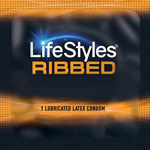 Lifestyles Pleasure Ribbed with Brass Lunamax Pocket Case, Lubricated Latex Condoms-24 Count