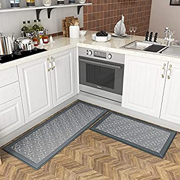 Kitchen Mats Set Washable Non-Skid Water Absorption Rugs for Kitchen Floor Runner Rugs for Front of Sink Bathroom Hallway Laundry Room Grey 17 x30 +17 x47