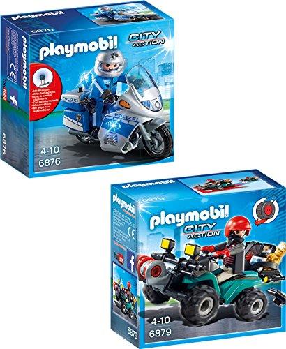 Playmobil Motorradstreife mit LED-Blinklicht + Ganoven-Quad mit Seilwinde 2er Set 6876 6879