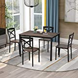5-Piece Industrial Wooden Dining Table Set with Metal Frame 1 Table and 4 Ergonomic Chairs for Kitchen, Breakfast Nook, Living Room, Brown