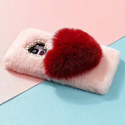 LAPOPNUT für Samsung Galaxy S9 Plus Hülle 3D Diamant Flauschig Kunstfell Rhinestone Bling Kristall Shining Handmade Handyhülle TPU Silikon Weich Handytasche Abdeckung, Hot Pink
