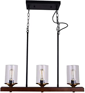 Vine Chandelier for Dining Rooms, Rustic Black Chandeliers, Rectangular Farmhouse Pendant Lantern Solid Wood Kitchen Islan...