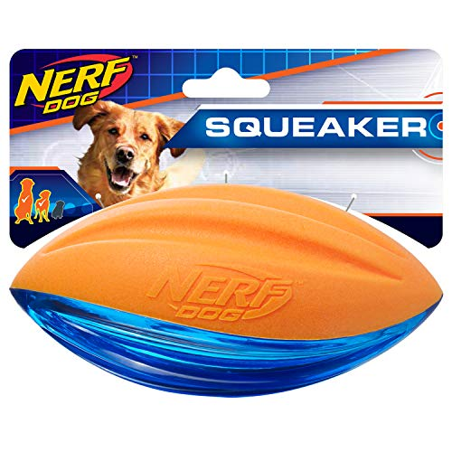Nerf Dog Rubber Football Dog Toy with Interactive Squeaker Lightweight Durable and Water Resistant 6 Inches for Medium/Large Breeds Single Unit Blue and Orange