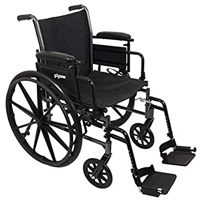 """ProBasics Lightweight Wheelchair for Adults with Flip Back Desk Arms and Swing-Away Foot Rests - 16"""" x 16"""" Seat by Roscoe Medical, Inc."""
