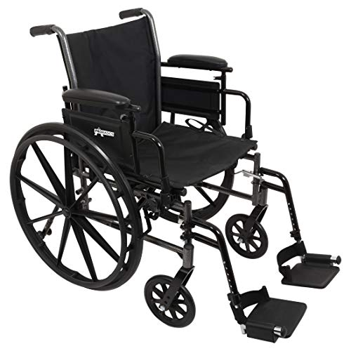 """ProBasics Lightweight Wheelchair For Adults With Flip Back Desk Arms and Swing-Away Foot Rests - 20"""" x 16"""" Seat"""